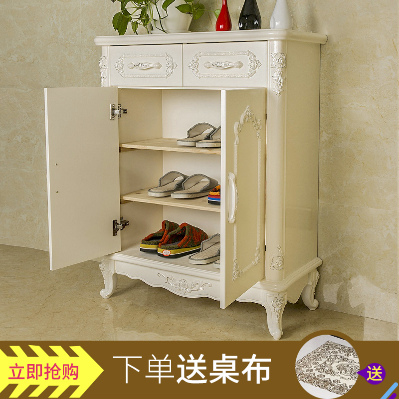 European Carved Luxury Carved Shoe Cabinet White Hall Entrance Cabinet  Large Capacity Lockers Jane European Three