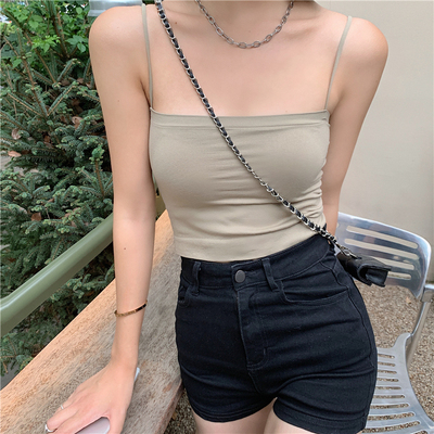 taobao agent Pure color thin shoulder straps wear sexy small vest female summer hot girl with chest pad tube top black short sling top