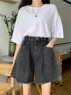 taobao agent Shorts women 2021 new summer thin section high waist straight wide leg pants loose denim hot pants rolled five-point pants