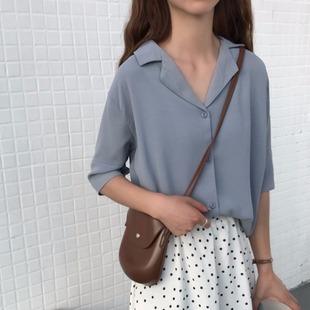 2019 лето корейский темперамент дикий костюм воротник шифон рубашка куртка женщина твердый рубашка студент женщины
