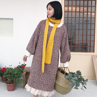 Fall and winter new women hit color long mesh gauze pleated loose was thin students long-sleeved woolen dress