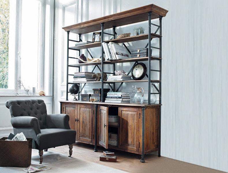 美式LOFT實木組合書柜復古鐵藝多層書架展示架客廳隔斷置物架