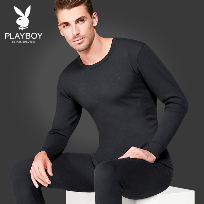 Playboy Autumn Clothes Men's cotton youth thin all cotton sweaters V collar warm underwear set winter