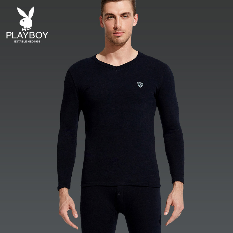 Playboy Autumn and winter men's warm underwear set with velvet thickened v collar long sleeves old and middle aged warm cotton sweaters