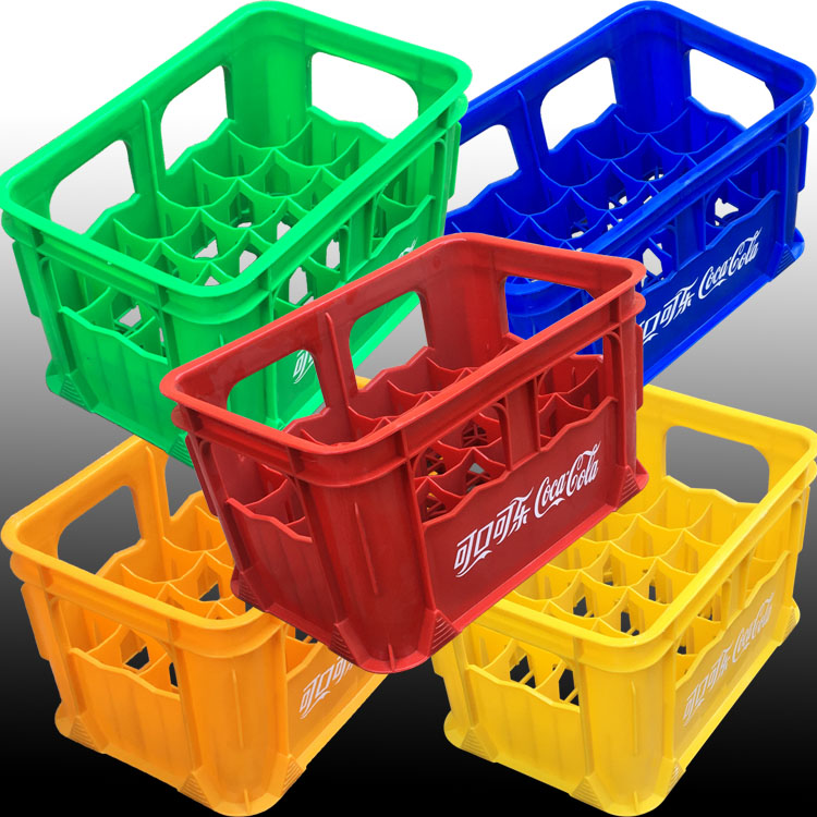 Plastic Coke basket box 24-block box delicious LOGO online version printed with word plastic beverage transport grid high stack disk