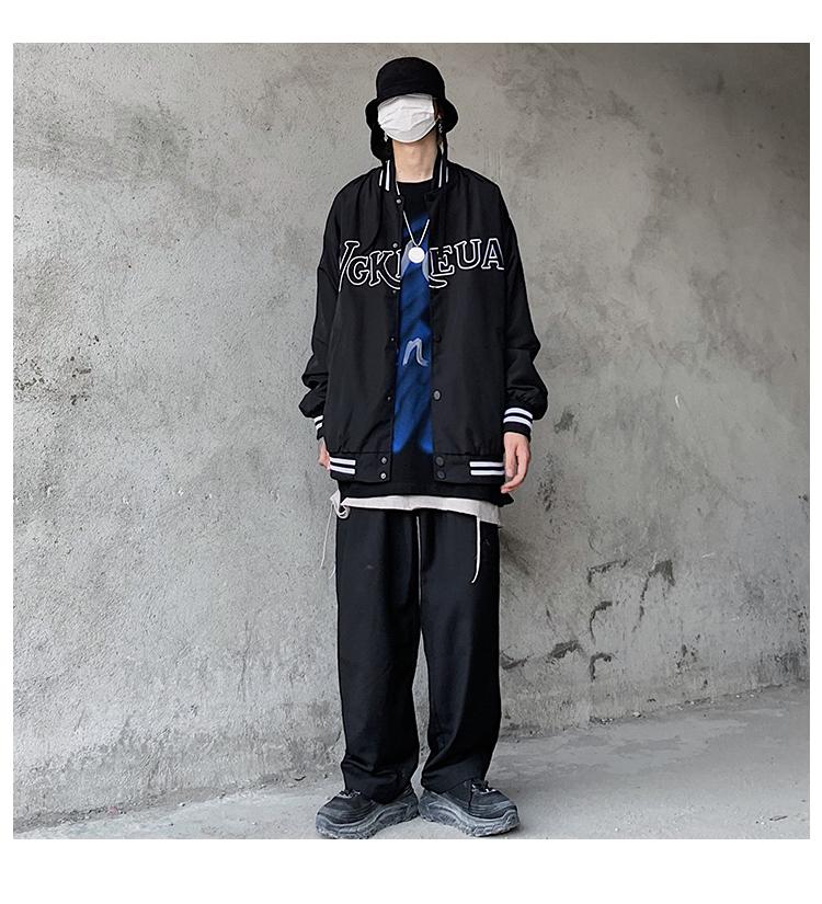 潮牌欧美街头復古字母刺绣棒球服外套男嘻哈原宿风宽鬆休閒夹克详细照片