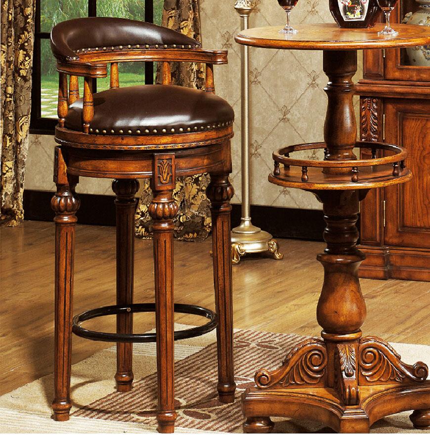 European Bar Chair Bar Chair High Stool Bar Stool Solid Wood High Chair  American Style Retro Bar Stool Home Bar Table And Chairs