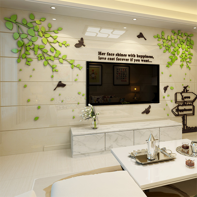 Green Leaf 3d Three Dimensional Wall Stickers Acrylic Wall Living Room Sofa Tv Backdrop Bedroom Children S Room Restaurant Study Paste