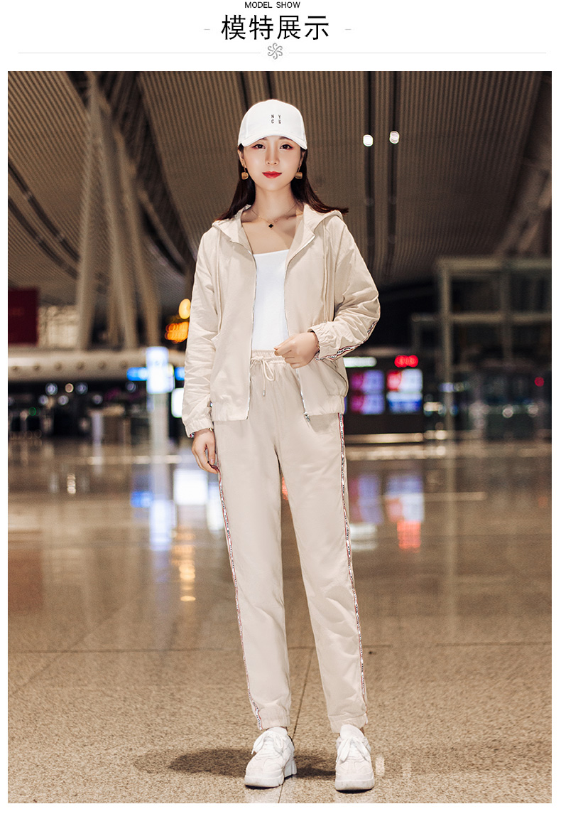 Sportswear set autumn new 2020 Korean version of loose-fitting large-size fashion casual wear two-piece set thin 55