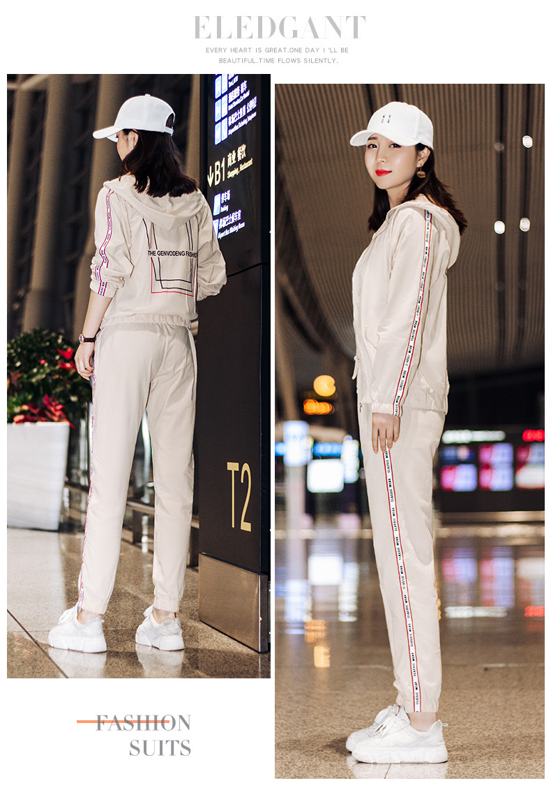 Sportswear set autumn new 2020 Korean version of loose-fitting large-size fashion casual wear two-piece set thin 56