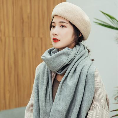 羊毛贝雷帽女秋冬韩版潮日系英伦复古黑色时尚百搭帽子大头围画家