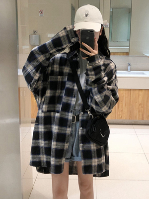 taobao agent Plaid shirt jacket women's spring and autumn 2021 new trend retro Hong Kong style upper clothes loose outer wear ins trend