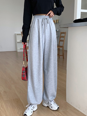 taobao agent Gray pants female 2021 new spring and autumn is thin wild wide-leg pants loose sports pants straight leg trousers tide