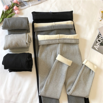 taobao agent Gray leggings women's spring and autumn plus velvet thickening 2021 new hot style tight-fitting outer wear warm cotton pants inner wear