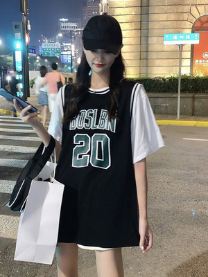 taobao agent Basketball uniform female loose bf wind Korean version of the summer 2021 new mid-length short-sleeved t-shirt fake two-piece ins tide top