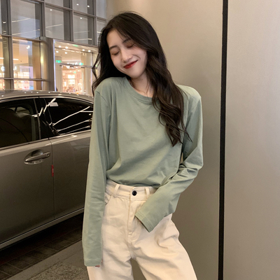 taobao agent Solid color bottoming shirt long-sleeved t-shirt women's clothing early spring autumn winter 2021 new Korean version loose inner ins tide