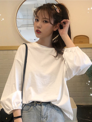 taobao agent Puff sleeve top clothes white long-sleeved t-shirt women's 2021 new early spring and autumn Korean version loose ins tide