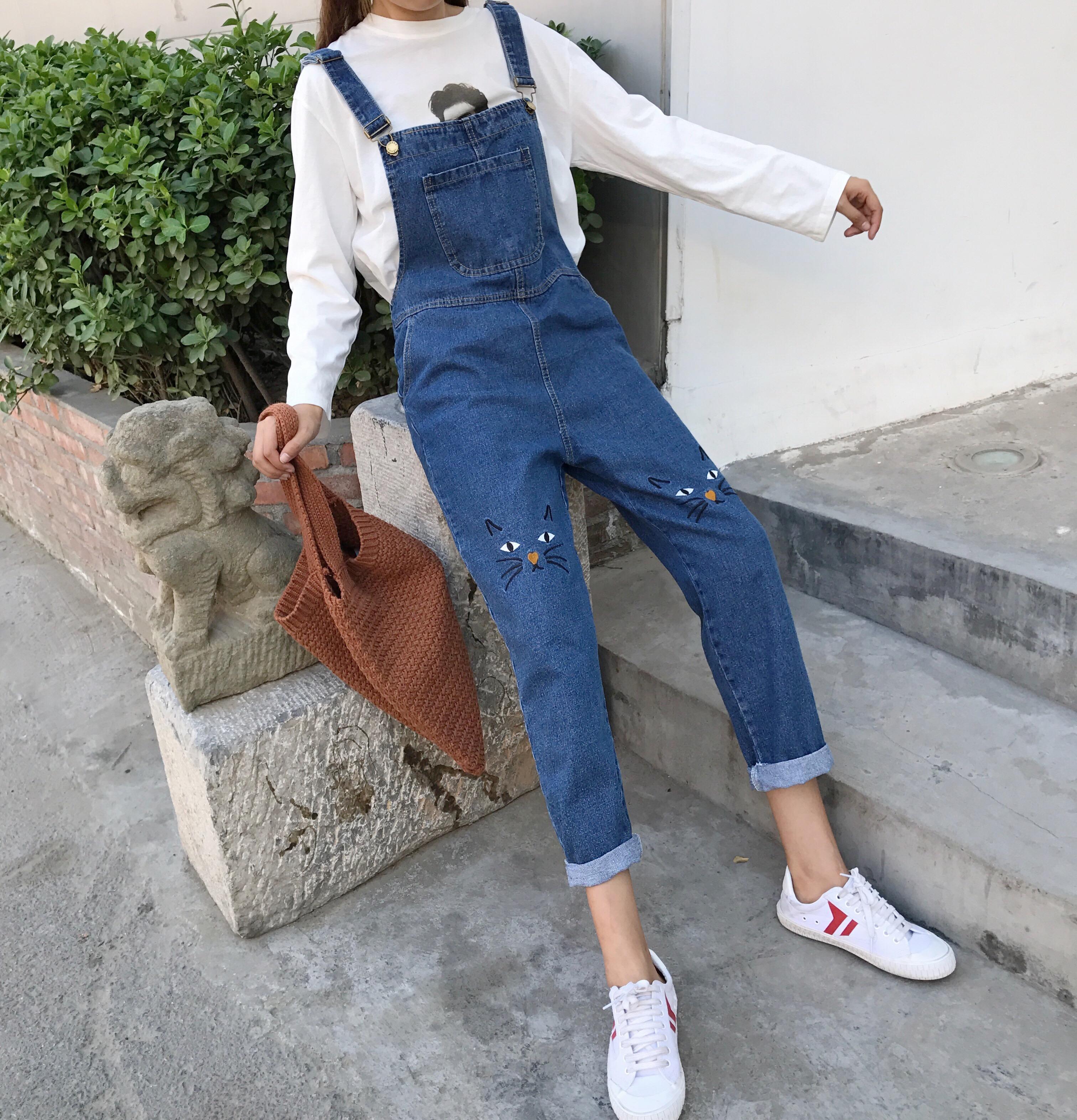 Джинсы женские Осень наряд женская одежда Хан издание милый мультфильм кошка вышивка джинсы комбинезон обрезанные брюки свободные брюки тонкий прямые брюки
