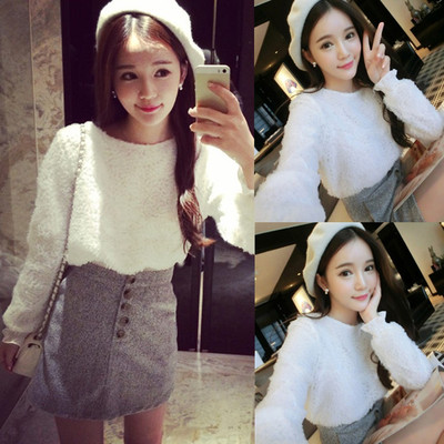 Nightclub women's autumn and winter models 2017 new Korean version of the fashion long-sleeved sweater sexy hip skirt two sets of tide