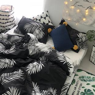 Ins нордический простой личность черный кровать статьи большой лист детская кроватка один четыре части один одеяло комната с несколькими кроватями три образца