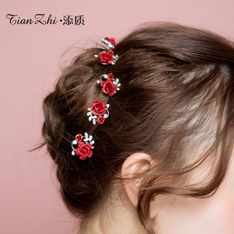 Usd 6 24 Add Quality Rose Flower Hairpin Bride Headdress Red U