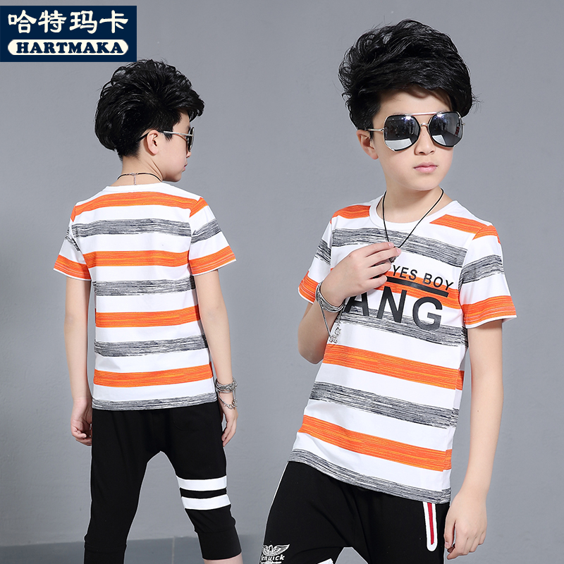 99172a3c3 Male children short-sleeved T-shirt children's clothing boys summer cotton  fat children 10 boys 12 loose 2018 new 15 years old