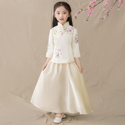 Girls in the wind, children's wear, girls' school uniforms, guzheng costumes, kids, Chinese style girls, costume.
