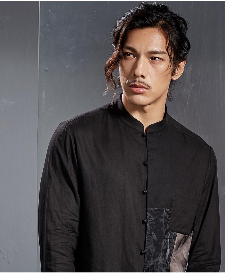 Italian tree Chinese linen shirt print men's long-sleeved top fashion business shirt youth trend jacket (Dark color 170/M) 44 Online shopping Bangladesh