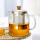 Green bead glass blister teapot cooking tea thickened heat filter tea kettle office kung fu tea cup glass tea set