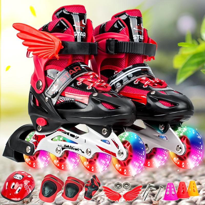 ba517ba121f 3-4-6-7-8-9-10 years old boys and girls roller skates adjustable inline ...