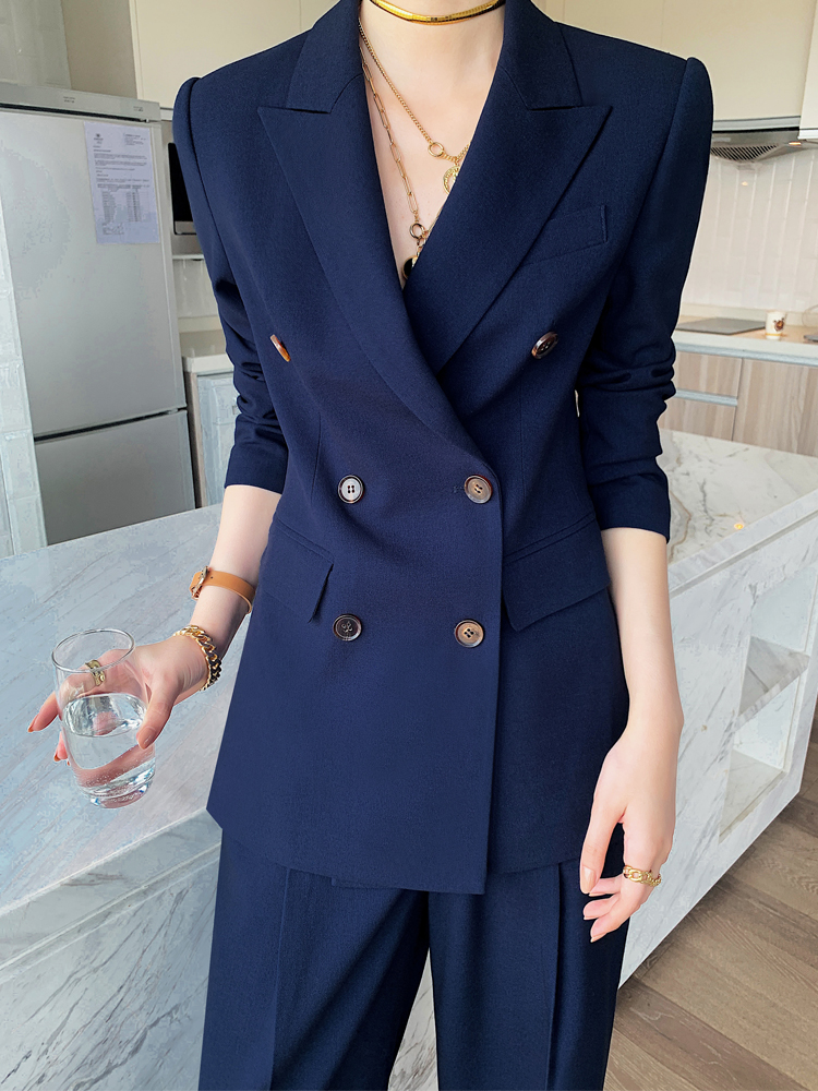 Wide leg pants suit suit women's 2021 spring and summer Korean version of the fashion temperament British style casual fried street professional small suit