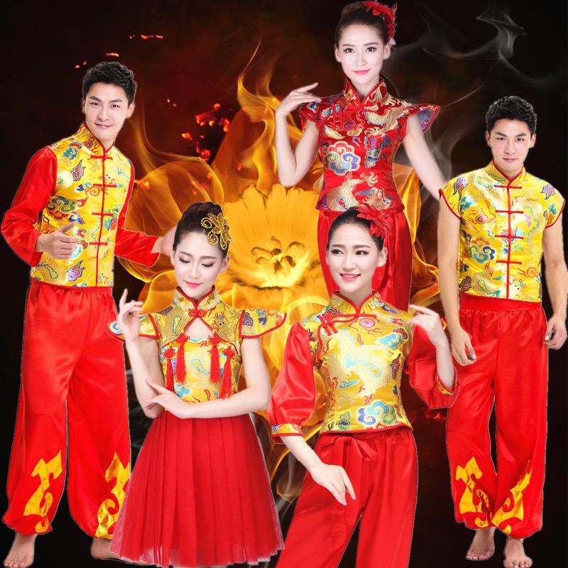 打鼓服2018新款中国风民族秧歌服舞蹈舞龙舞狮水鼓腰鼓队演出服女