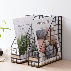Iron folder data storage basket Nordic book storage box racks desk bookshelf retro storage rack