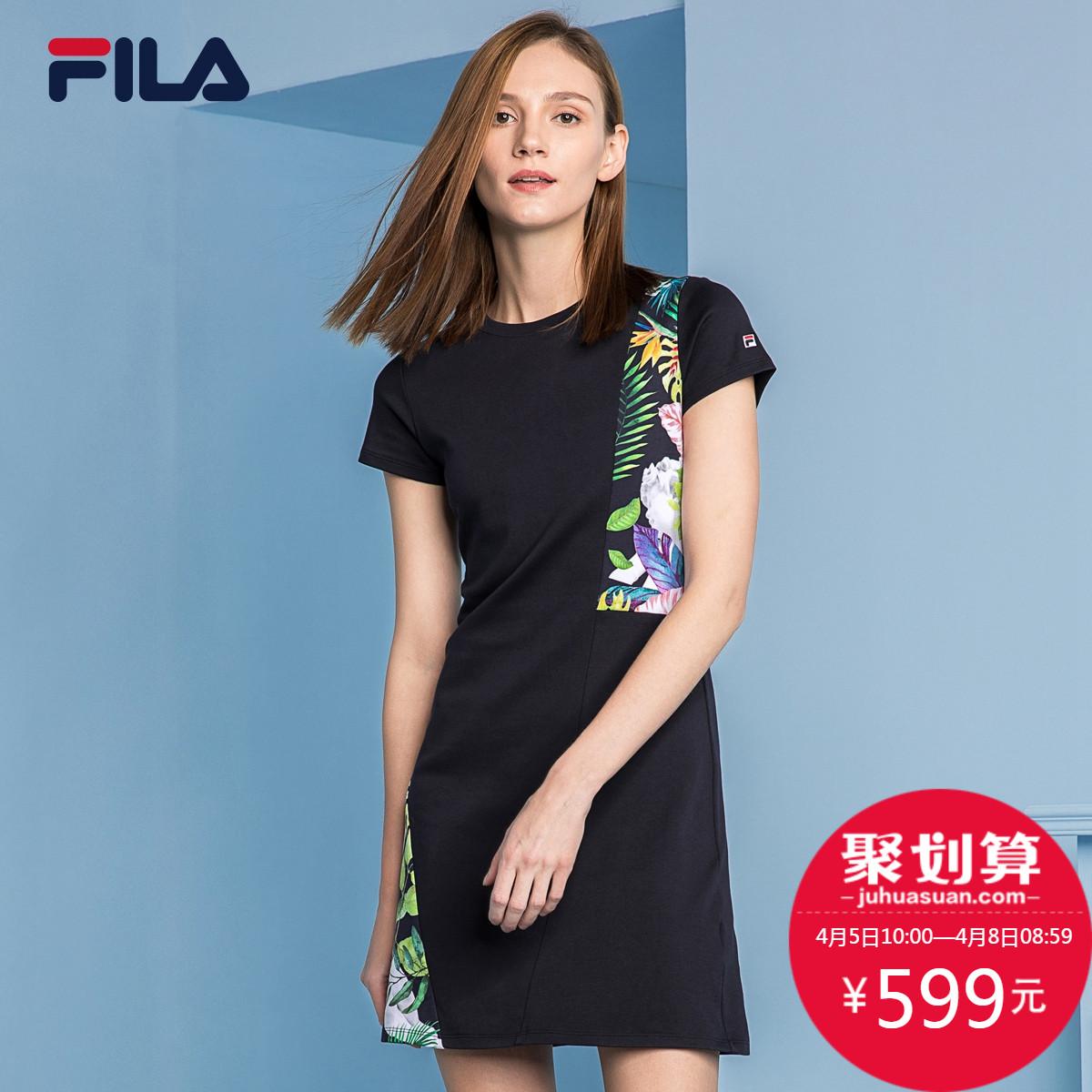 FILA фиджи музыка платье 2018 новая весна модель печать тонкий короткий рукав платье