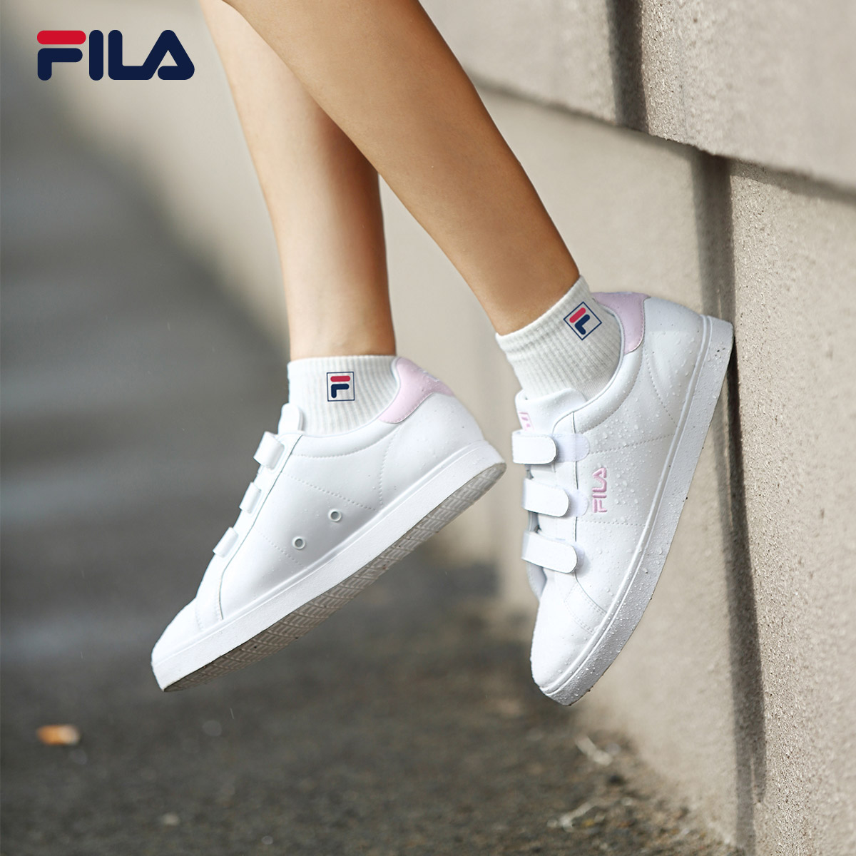 FILA Fei Le shoes 2018 spring new solid color small white shoes casual  breathable Velcro culture casual shoes c500ee8e7