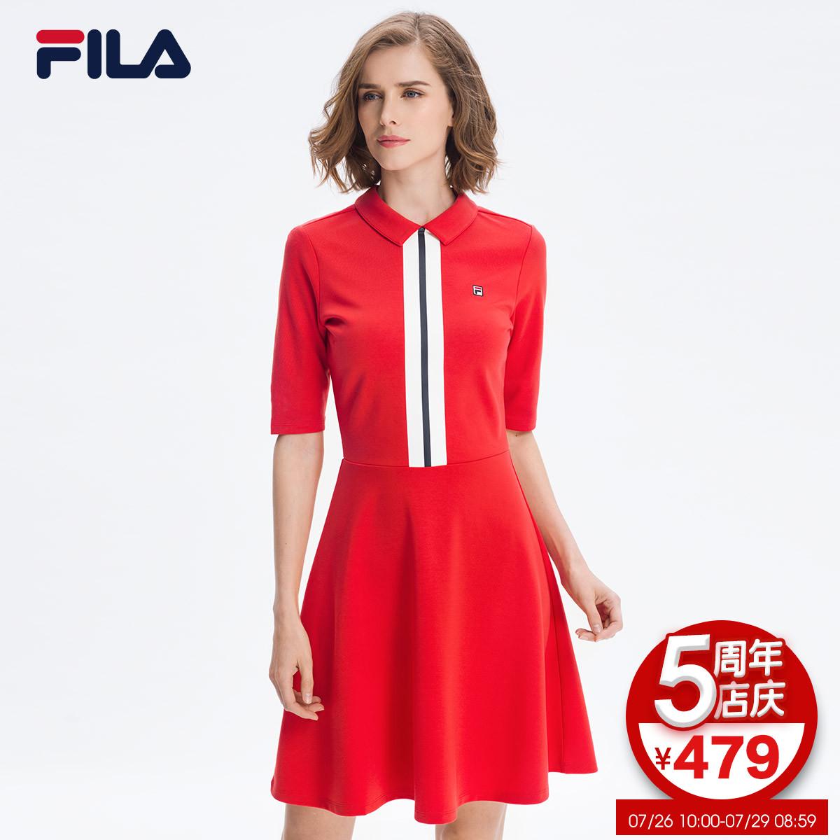 FILA Fila nữ ăn mặc 2018 mùa hè mới thể thao váy ngắn đơn giản thanh lịch tương phản màu thể thao ăn mặc nữ
