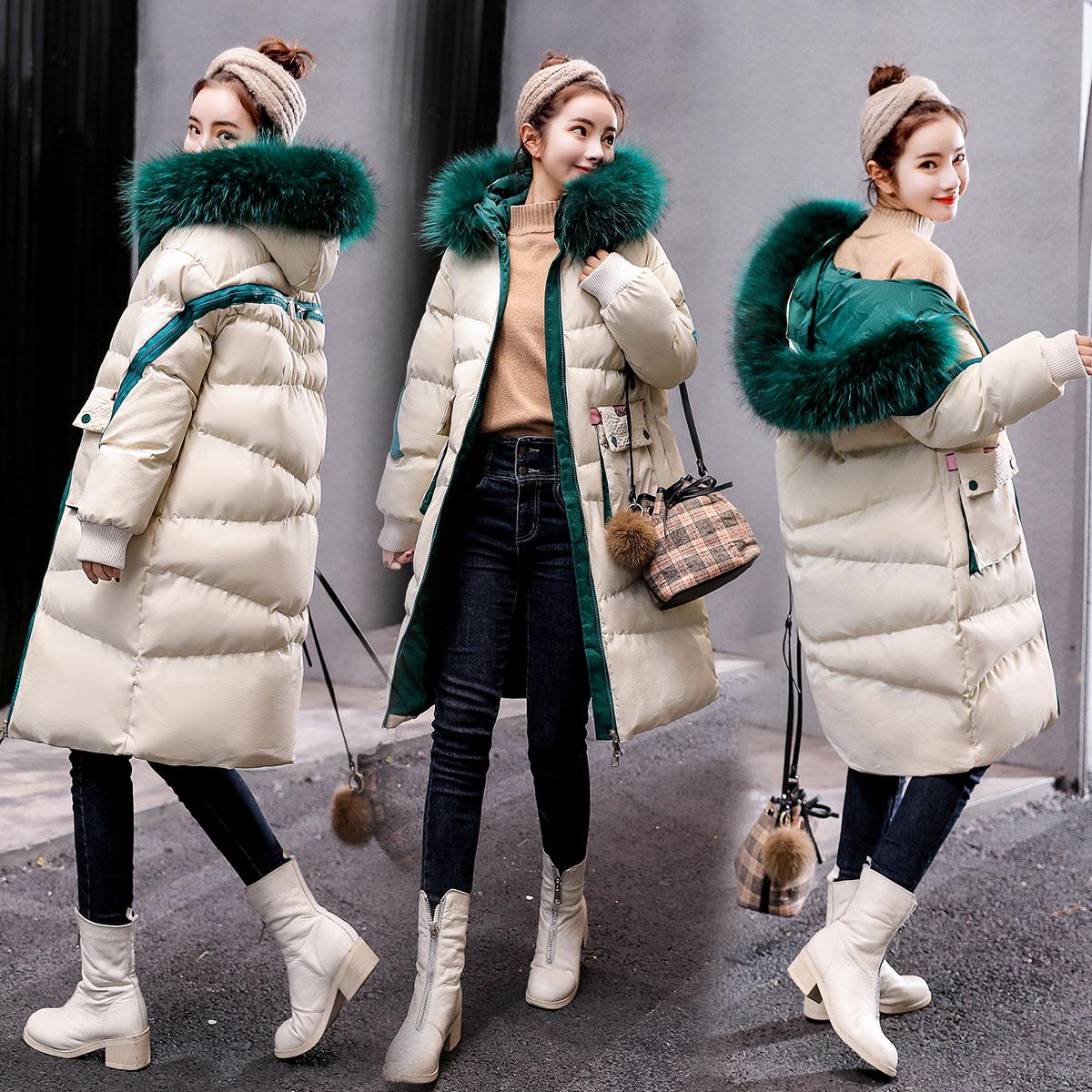 羽绒外套女中长款2019冬装新款棉服收腰女装百搭加厚过膝棉衣棉袄