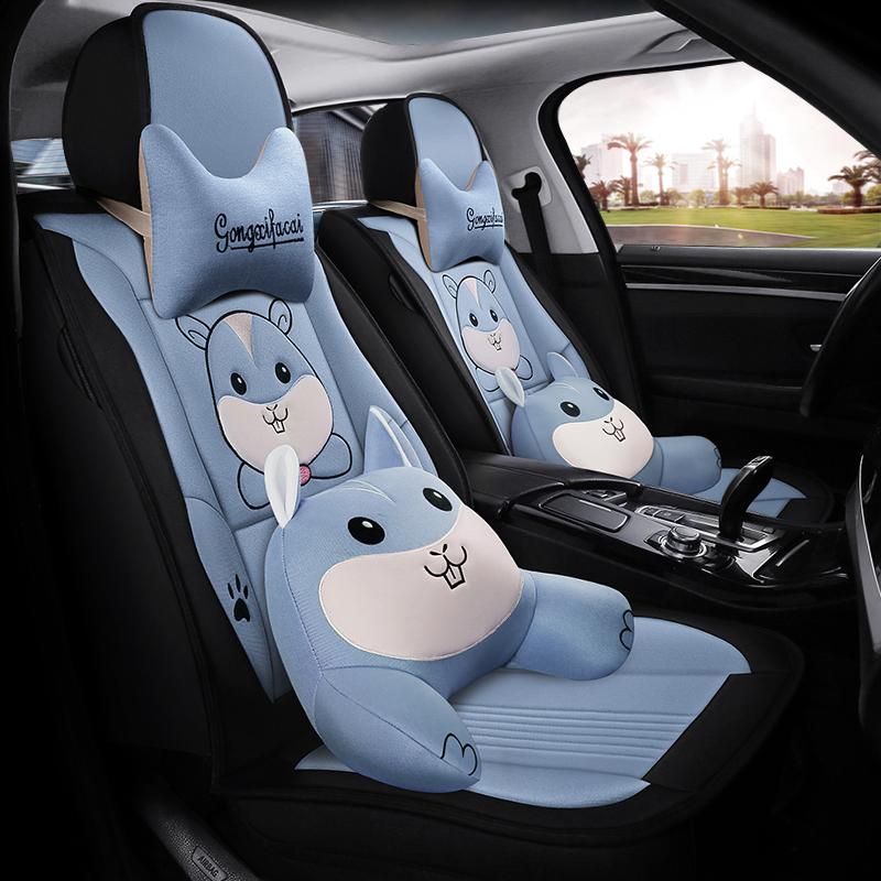 夏天汽车坐垫北京现代IX35朗动瑞纳索纳塔8座套亚麻卡通四季全包