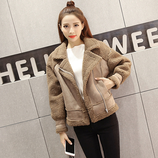 Autumn and winter clothing new Korean version of the short coat female thickening was thin deerskin down fur integrated lamb wool cotton coat