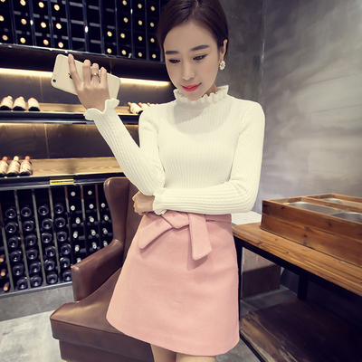 2017 autumn new Korean version of temperament wood ear long-sleeved top blouse women's slim was thin sweater
