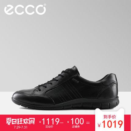 ECCO爱步春夏新品低帮鞋休闲牛皮女鞋 系带单鞋女 芭贝特 210353 1019元