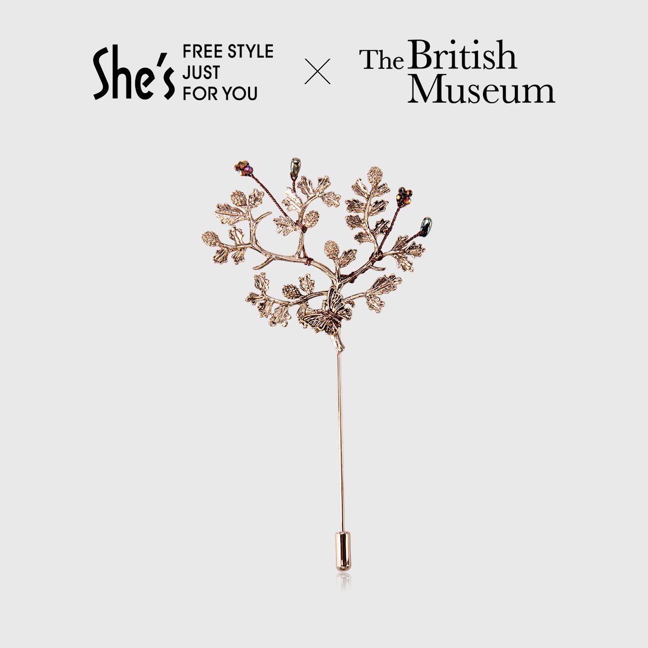 Shes British Museum chính hãng ủy quyền trâm pin trâm nữ phụ kiện áo khoác pin cardigan tính khí