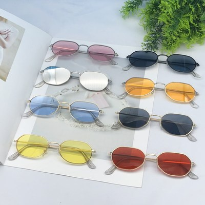 taobao agent Baby Qi Wei star with the same glasses female personality irregular polygon sunglasses ultra-narrow square small frame sunglasses