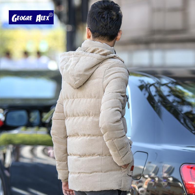 男士外套冬季中长款加绒加厚棉衣男修身保暖棉服潮流男装冬天棉袄
