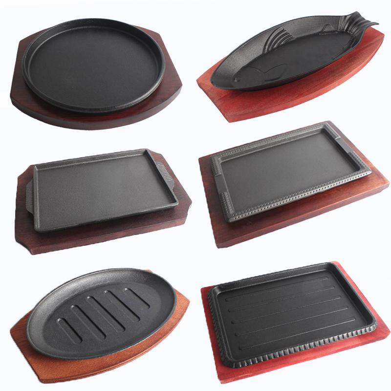 商用铸铁牛排盘圆形长方形铁板烧盘韩式烤鱼盘不粘烧烤盘牛扒盘子