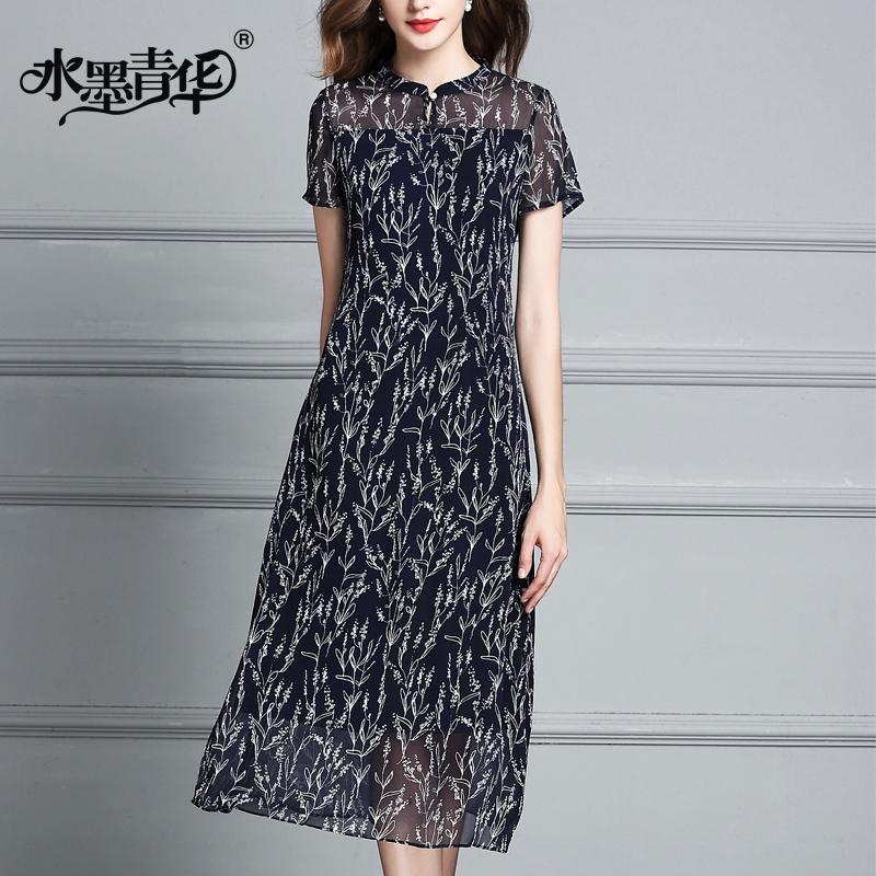 Mực Qinghua ngắn tay nữ 2018 mùa hè mới tính khí thanh lịch Slim đoạn dài con lắc lớn in ăn mặc