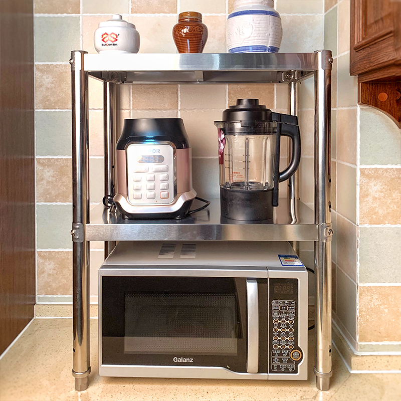 Kitchen Two Story Rack 2 Story Microwave Rack Oven Shelf Double Layer Stainless Steel Seasoning Ç«ˆ Tabletop Storage