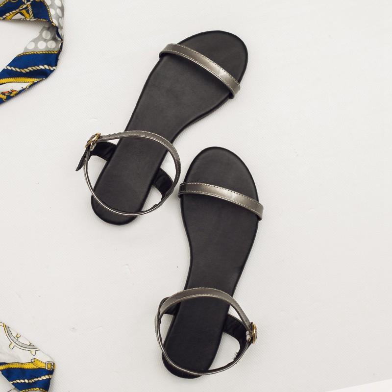 平底新品女一字带软底防滑露趾简约韩版搭扣方跟夏季2019女鞋凉鞋