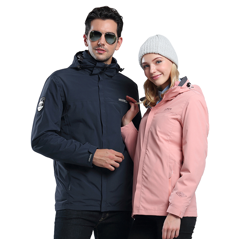 Winter jackets men and women Tide brand three-in-one removable plus cashmere thickening two-piece windproof mountaineering jacket