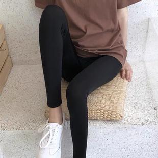 官方直营冰丝打底裤女外穿夏季薄款黑色显瘦紧身弹力九分裤运动裤